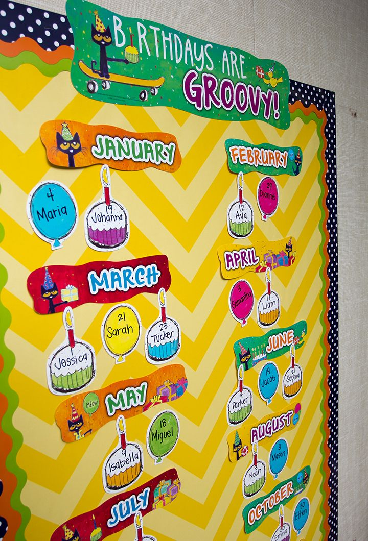 """Birthdays are groovy when you celebrate with Pete the Cat! Includes """"Birthdays Are Groovy!"""" banner, 12 month headers, and 36 pieces for student names.  Everyone's favorite cat is now at Teacher Created Resources. The bulletin boards, borders, and accents pieces bring Pete the Cat books to life. You're students will love how Groooovy your classroom looks with Pete around."""