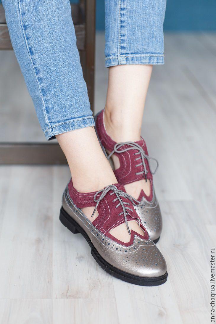Leather wingtip shoes |  Женские броги с вырезами Anna Chaqrua - комбинированный, обувь, обувь ручной работы