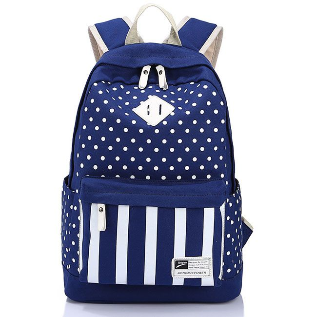 Casual Polka Dot Striped College Canvas Backpack High