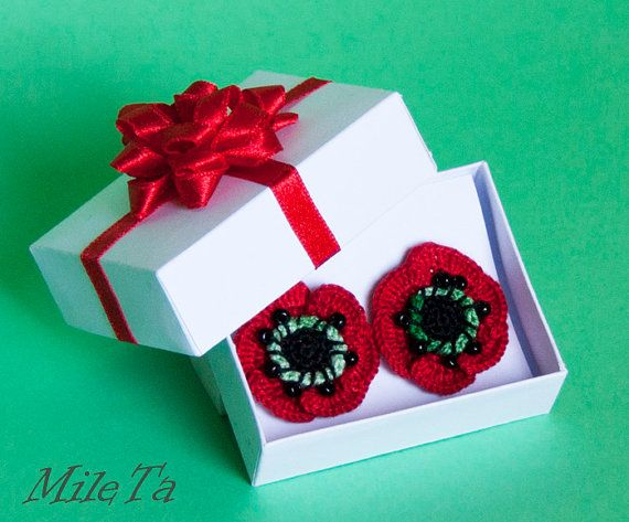 Crochet Earrings Red Poppy Flowers with Silver 925 Sticks BY MileTa HandMade