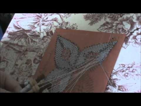 Bolillos: Como hacer una flor de 4 petalos - Parte 1 - YouTube