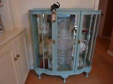Beautiful Vintage Display Cabinet With Decorative Glass Panel Shabby Chic Style