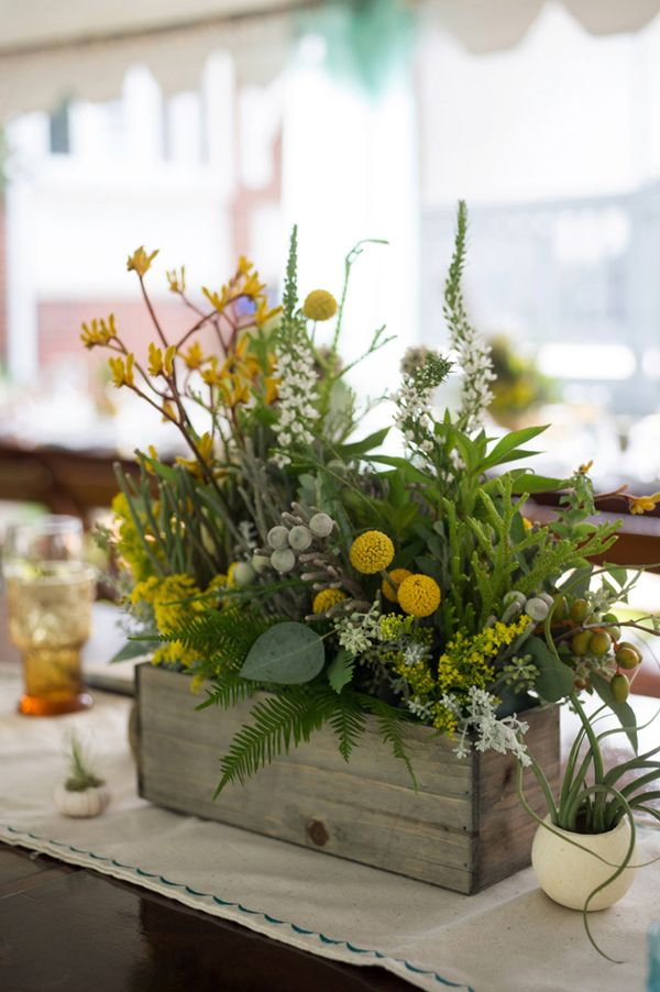I like this wooden box for a centerpiece container idea