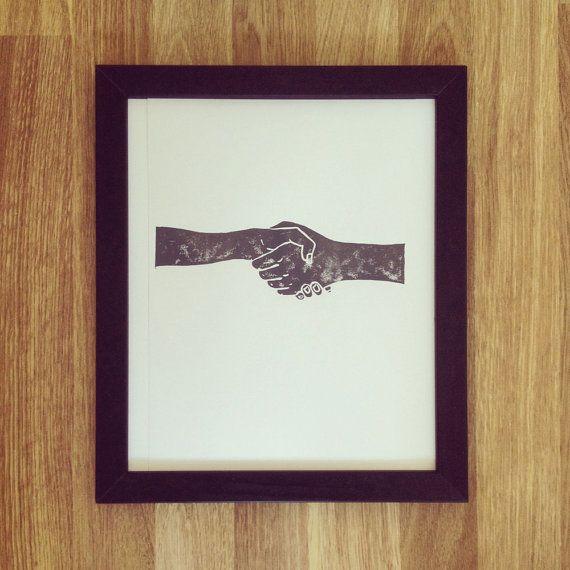 Original Lino Cut Print Hand Printed by ElenaIllustration on Etsy