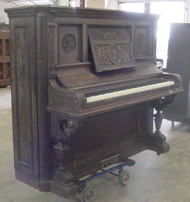 Krakauer Victorian Mahogany Upright Piano | The Antique Piano Shop