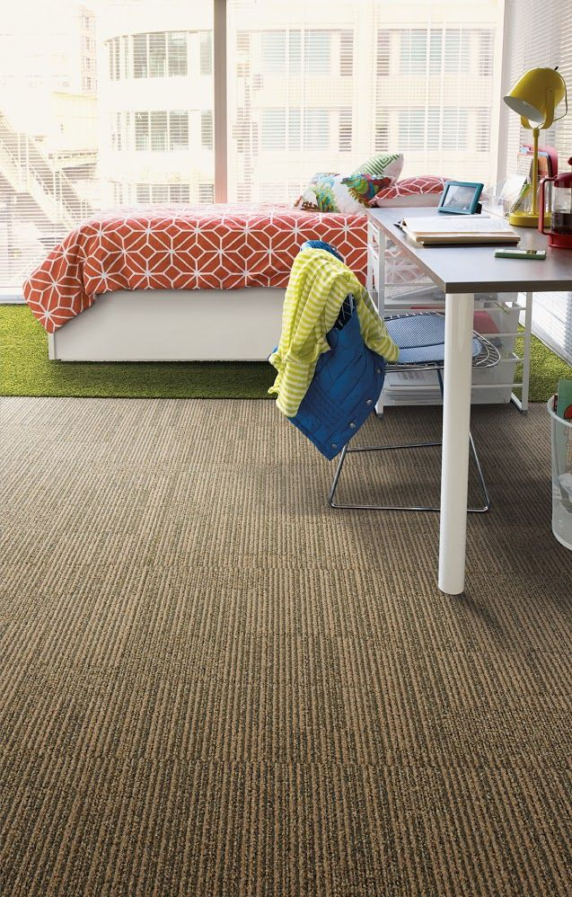 Neutral carpet design from Interface's Equilibrium collection can be neutral and masculine, or it can be dressed up to look more feminine. Therefore, it is a versatile product that can be used in any dorm room. The netural shade is also perfect for classrooms, libraries and school offices. Displaying Equilibrium - Contentment, HN830 - Cobalt.jpg