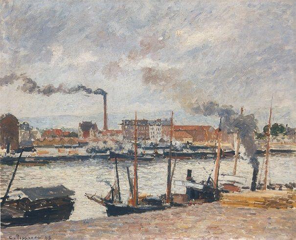 Camille Pissarro Quai de la Bourse, Rouen, pluie, 1898 Huile sur toile - 54 x 65 cm Genève, Musée d'Art et d'Histoire