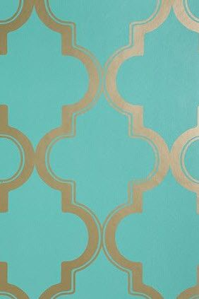 Marrakesh Honey Wallpaper  Classic Hollywood glamour--gold and turquoise