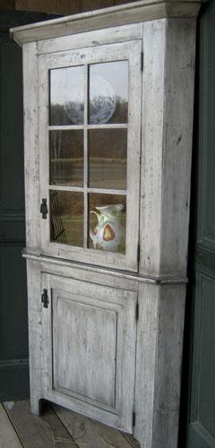 "24"" Corner Cabinet Finished in White Milk Wash Paint with Black Glaze."