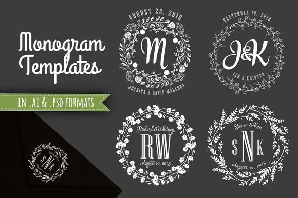 4 Beautiful monogram templates in both Adobe Illustrator (.ai) and Photoshop (.psd) formats. These are elegant designs, perfect for wedding invitations, bridal shower invitations, envelopes,