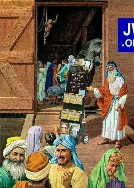 Noah and his witnessing cart - notice the JW.ORG logo to the right of the Ark door. Thanks for the submission