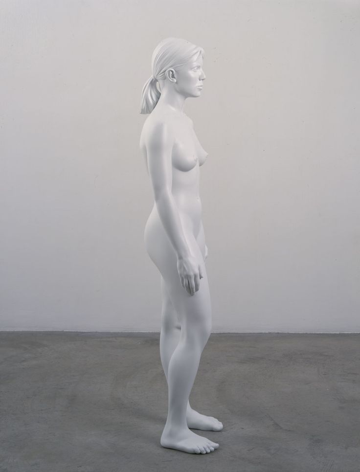 Charles Ray, Aluminum Girl, 2003, painted aluminum, 62 3/4 x 18 1/2 x 11 1/2 inches
