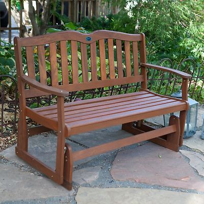 4 ft.Asian Wood 2 Person Double Seat Glider Bench Brown Outdoor Patio Furniture