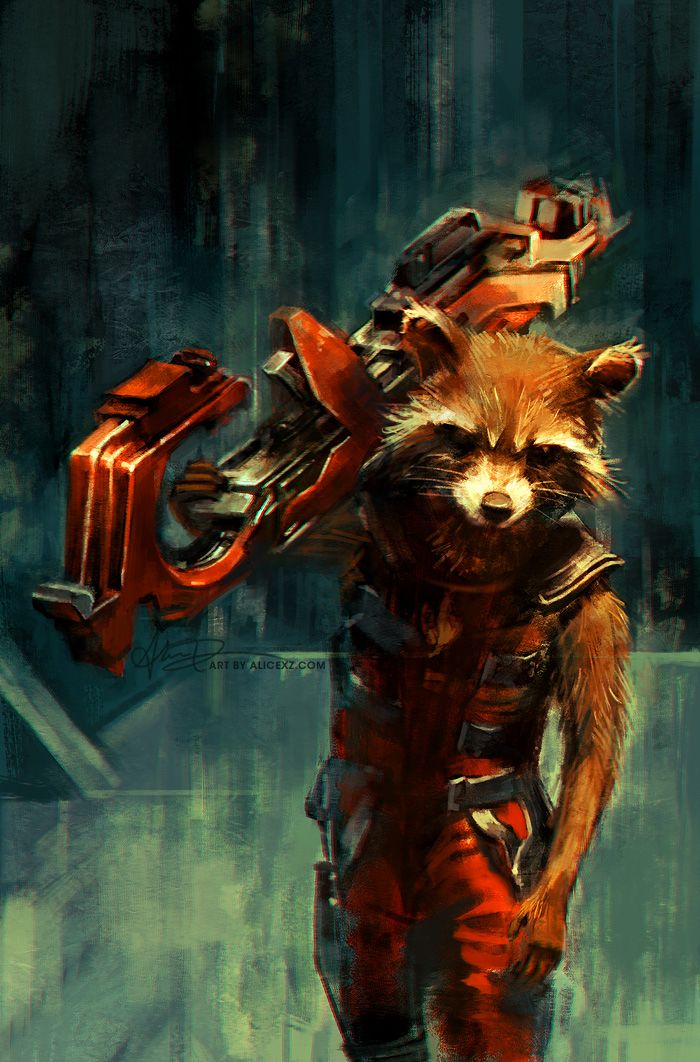 "Rocket Raccoon is a fictional superhero appearing in American comic books published by Marvel Comics. Created by writer Bill Mantlo and artist Keith Giffen, the character first appeared in Marvel Preview #7 (Summer 1976). He is an intelligent, anthropomorphic raccoon, who is an expert marksman and master tactician. His name and aspects of his character are a nod to the Beatles' 1968 song ""Rocky Raccoon""."