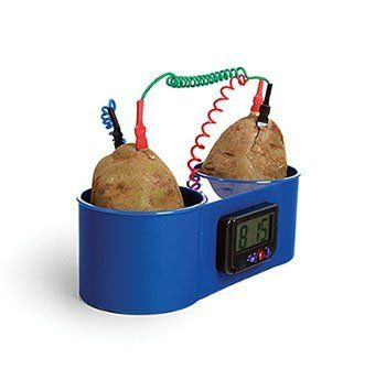 Two Potato Clock by American Educational Products. $14.00. A potato battery is an electrochemical battery, or an electrochemical cell in which a chemical reaction occurs in a liquid between two different metals. When a wire is placed to connect the metals, it carries an electrical current. An electrochemical cell converts chemical energy to electric energy. This plastic clock has two compartments designed to hold potatoes or fruit. Two coils (one red and one bl...
