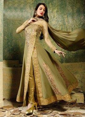Salwar Kameez design Malaika Arora Khan vert Zari travaillé