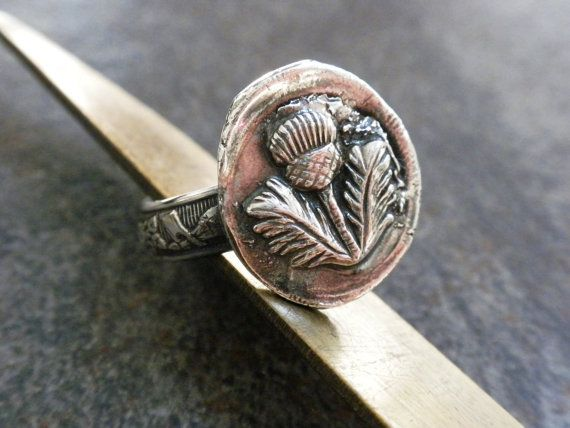 Scottish Thistle Jewelry Wax Seal Ring Size 7 by Serrelynda, $78.00