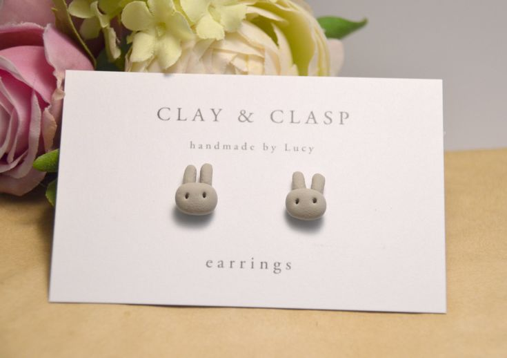 Grey bunny rabbit earrings - beautiful handmade polymer clay jewellery by Clay & Clasp. $20.00, via Etsy.