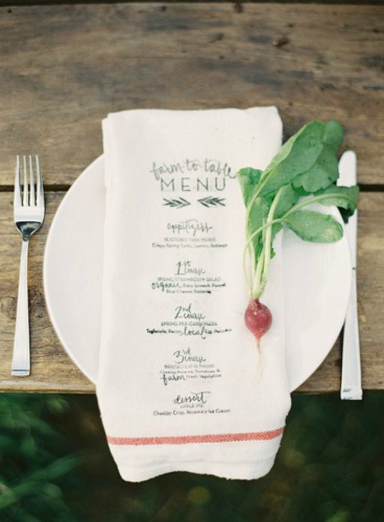 Farm to Table menu - love this with the radish to hold down the menu in case it's windy.  Love the simplicity of the white plates and the rustic, weathered table, too.