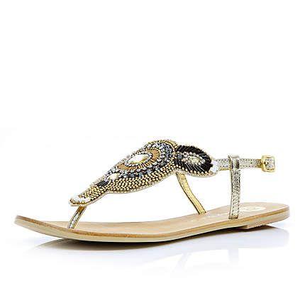 Silver metallic beaded toe post sandals - sandals - river island