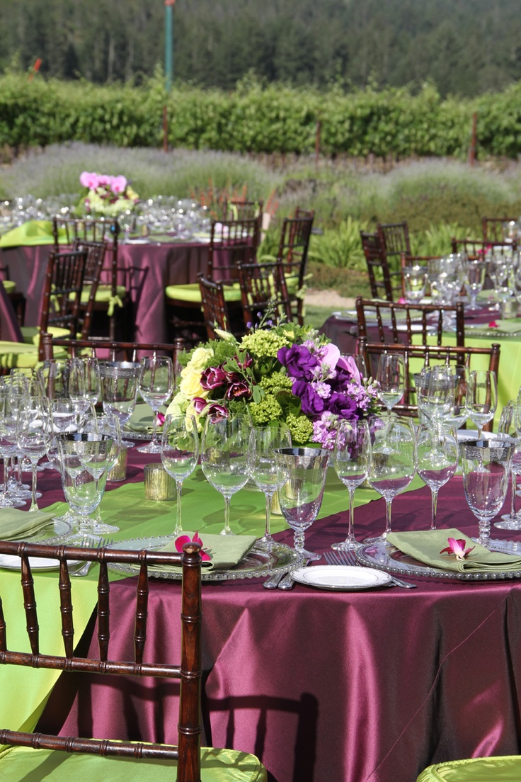 Purple Green Tablescape Wedding At St Francis Winery Fleursfrance