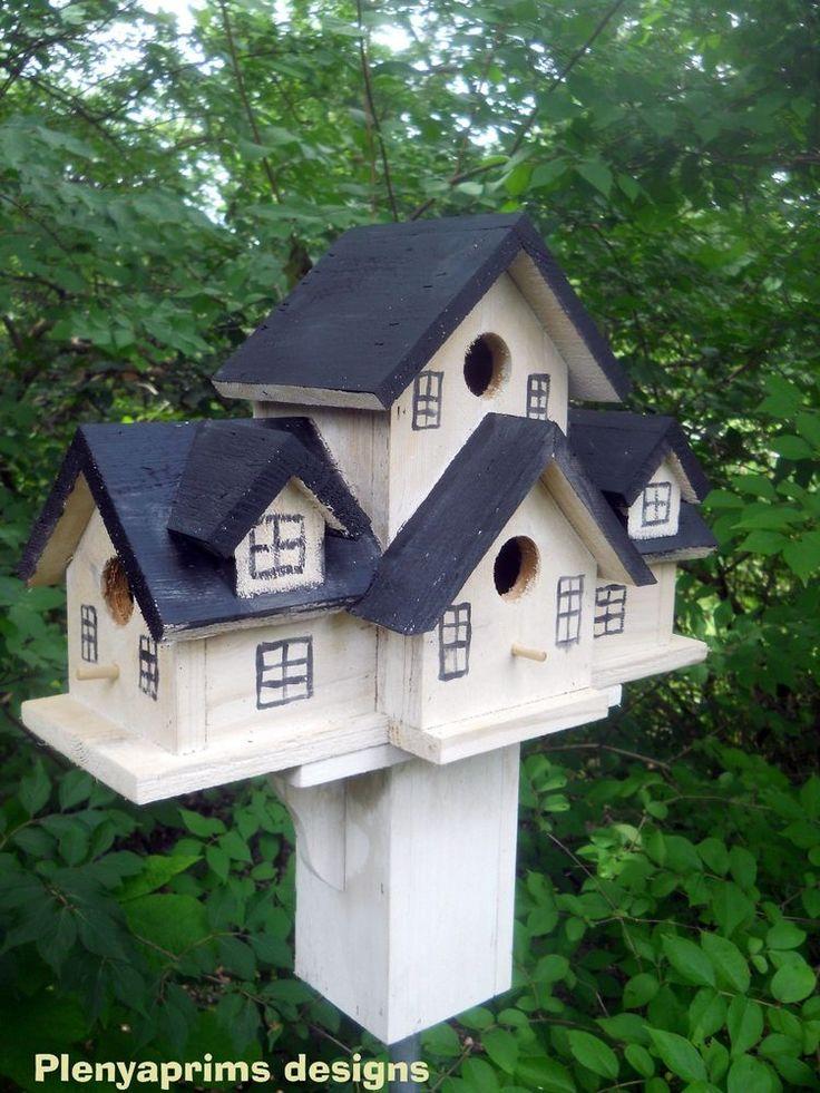 Birdhouse Miniature dollhouse display 4 nest folk