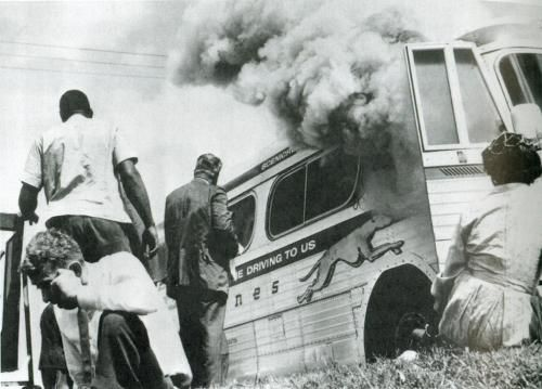 Freedom Riders Bus Burned near Anniston, Alabama, 1961.  The whites firebomb a bus full of Freedom Riders in Anniston, Georgia.  White mobs regularly beat riders as they leave the buses.  But Parchman State Penitentiary is reserved for the real criminals—the Freedom Riders themselves.  They have all of their belongings taken.  Strip searched, they are put under maximum security.