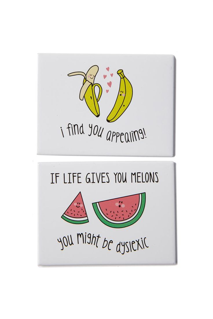 set 2 quirky magnets, FRUITS