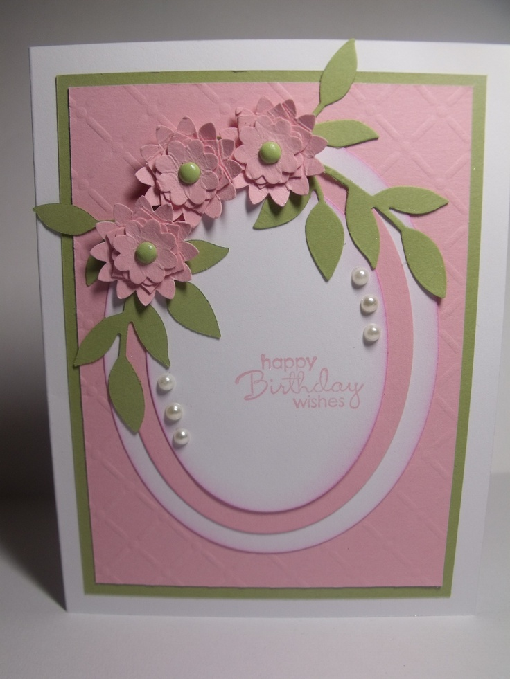 Pretty in Pink Birthday, using Ovals Collection Framlets, Little Leaves Sizzlits and the Boho Blossoms Punch for the flowers. All from Stampin' Up!
