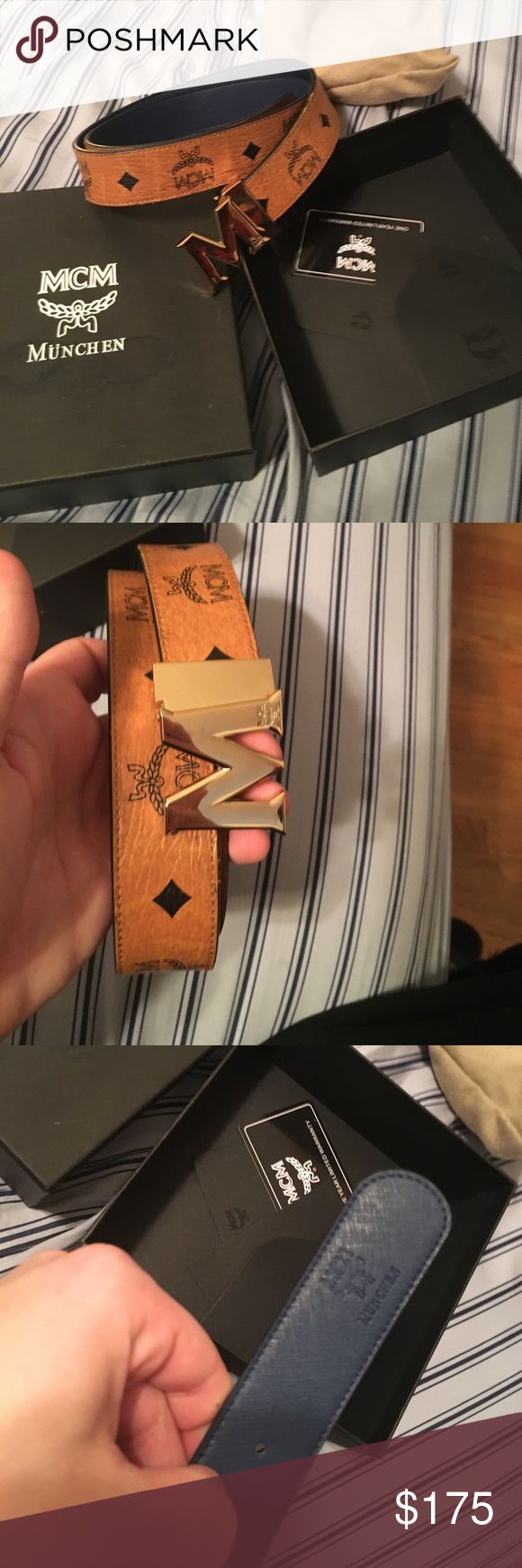 Mcm belt cognac blue tan reversible belt size 32 Up for sale is an mcm blue and tan reversible belt with box dustbags and cards. Belt has been cut to about a size 32 waist men. Let me know if you have any questions. Thanks MCM Accessories Belts