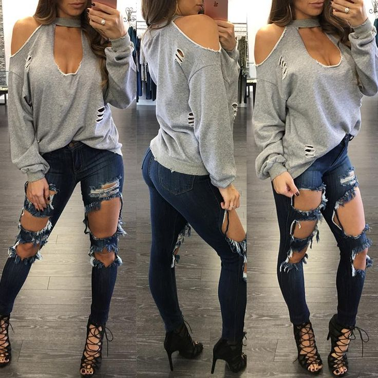 Sexy Women Ripped Cold Shoulder Baggy Top