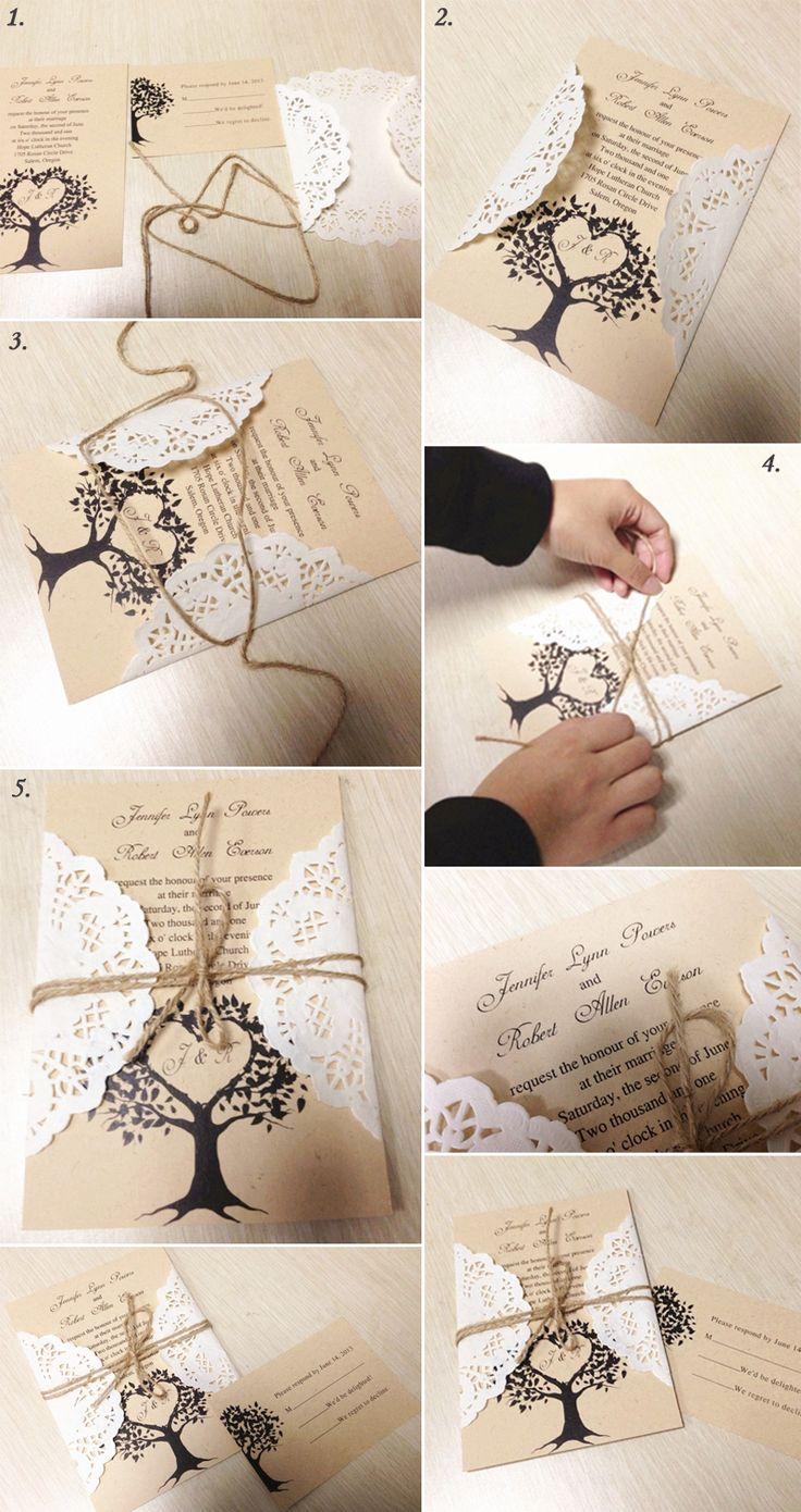 diy rustic lace wedding invitations