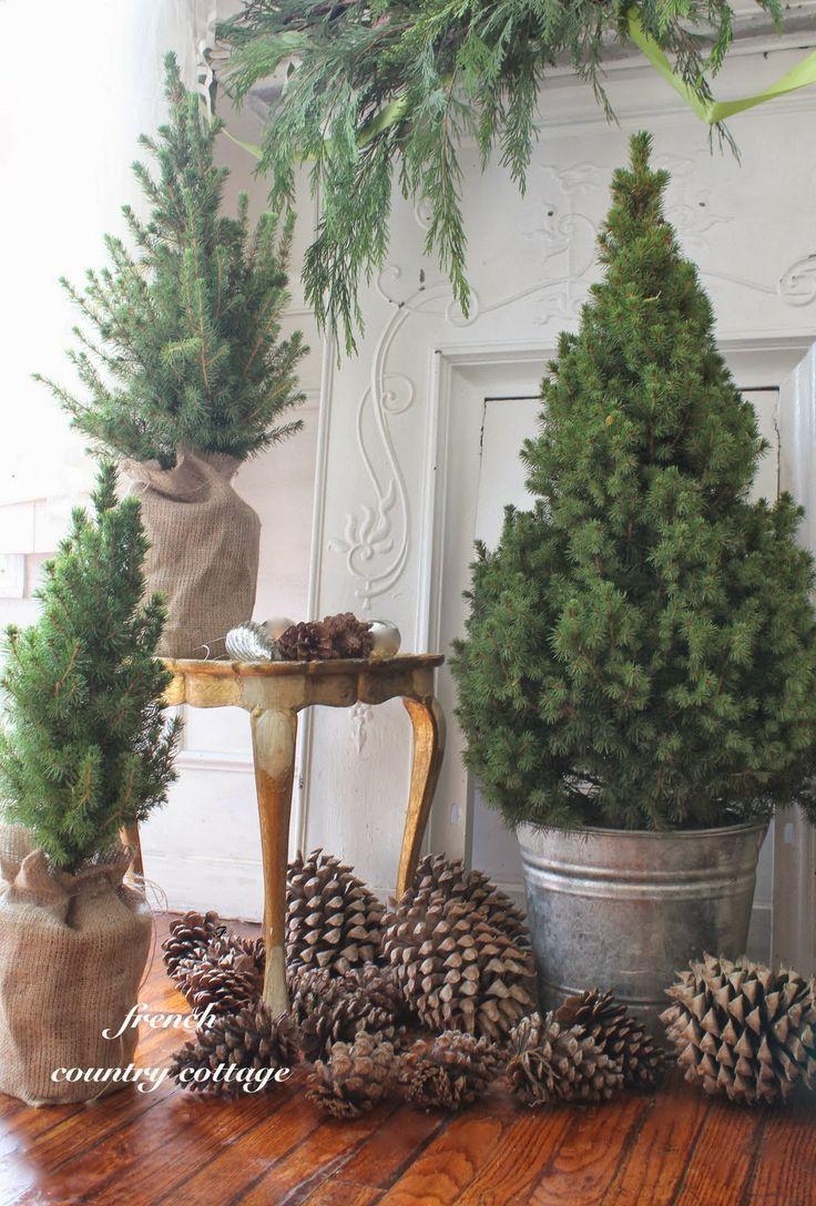 Mini Christmas Trees *Love the burlap and pincones!*... sometimes plain is so pretty
