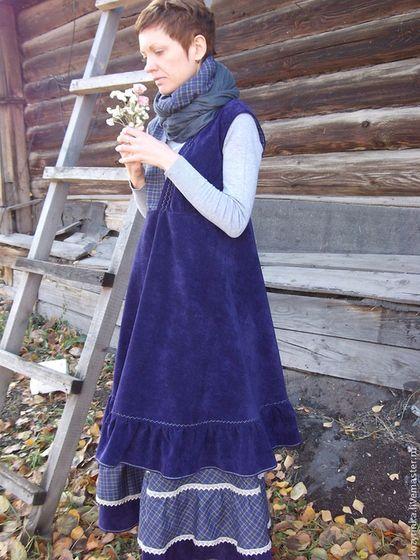"""Бохо-образ""""Утро туманное""""(юбка,сарафан) - тёмно-фиолетовый,в клеточку"""