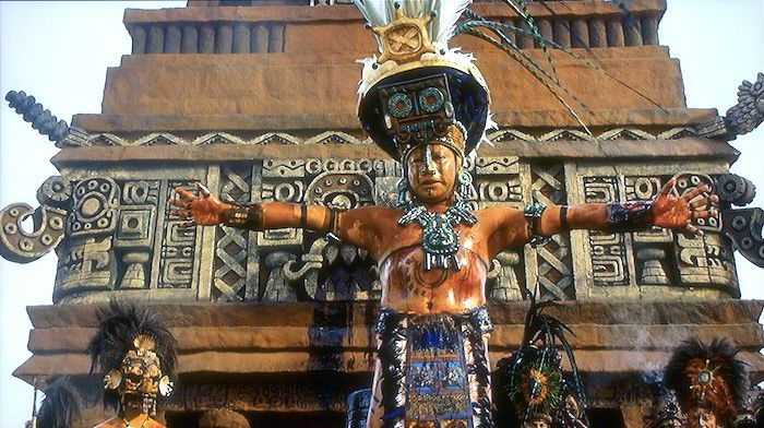 Reenactment of a Mayan priest from the movie 'Apocolypto'.