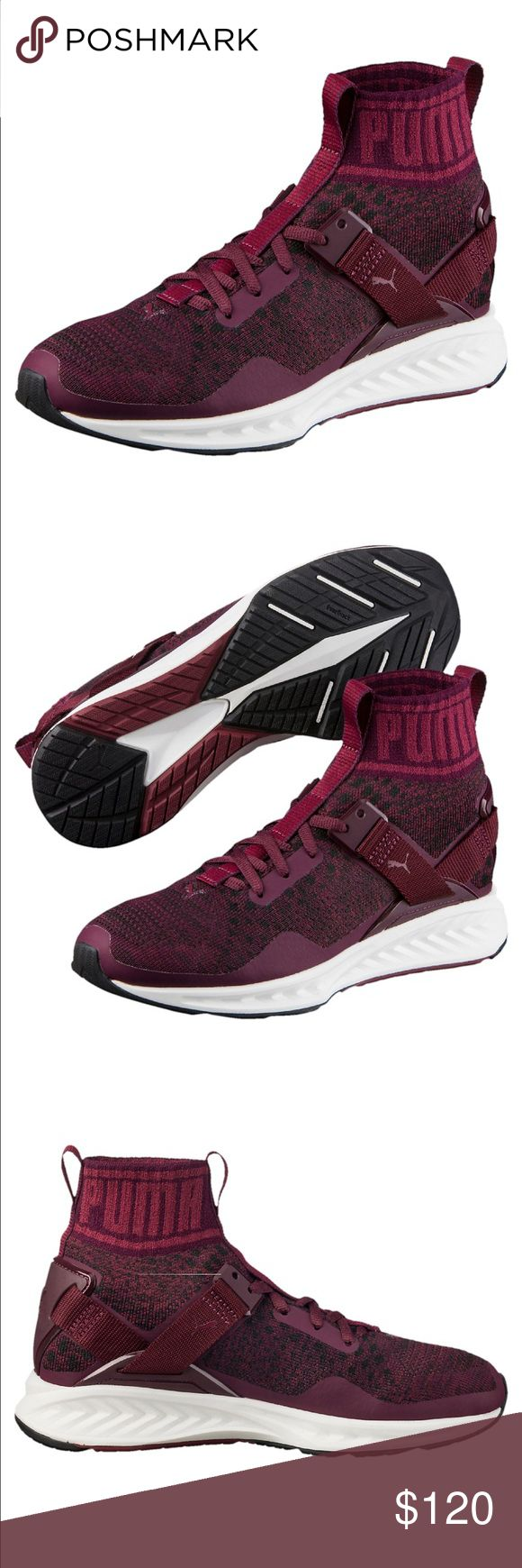 Puma Ignite Evoknit shoes were purchased from Puma website & are BRAND NEW and come with box!!! PERFECT condition. maroon, they run true to size, i'm selling because i got these as a gift (too big) and i bought ones in an 8.5! they're super comfy *will post pictures of actual shoes today when i get home* Puma Shoes Sneakers