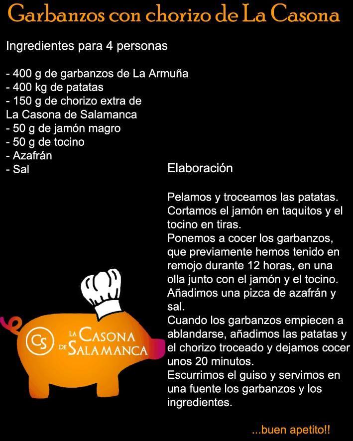 """Con este frío unos """"garbanzos con chorizo de La Casona"""".  http://www.jamonibericosalamanca.es"""