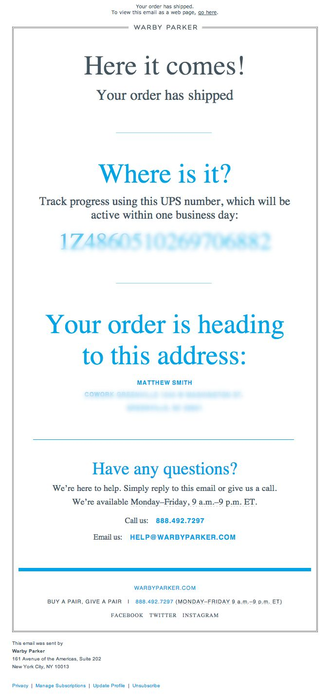 order shipped email design from warbyparker mailing pinterest simple the o 39 jays and. Black Bedroom Furniture Sets. Home Design Ideas