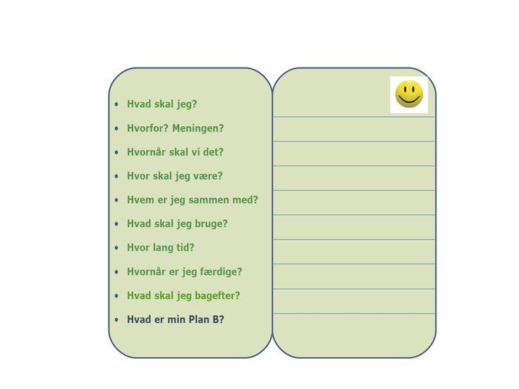 et kort med de 9 H´er, hvor du kan skrive specifikt, hvad barnet(eleven) skal. Måske er det ikke vigtigt alle spørgsmål er afdækket, men afprøv hvad der virker og hvilke svar barnet (eleven) har det bedst med at kende. Det kan gøre en forskel