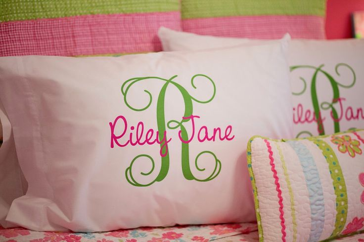 Monogram Pillowcase -  Girls Personalized Pillow case - Printed Monogram Pillowcase by HeatherRogersDesigns on Etsy https://www.etsy.com/listing/228269245/monogram-pillowcase-girls-personalized