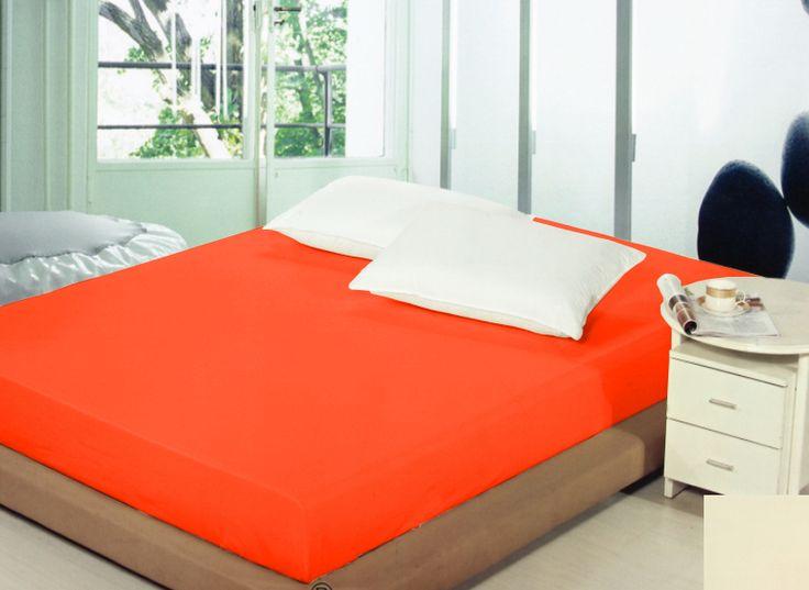Bawełniane prześcieradło w kolorze pomarańczowym