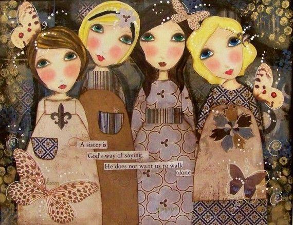 4 SISTERS girls 5x7 ART print card by Southendgirlart on Etsy, $6.00