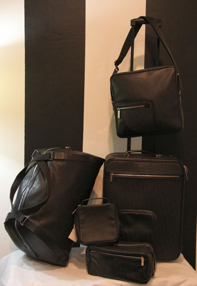 CHRISTIAN DIOR HOMME Black Coated Canvas Leather Monogram Luggage 6 Piece Set #DiorHomme #LuggageSet