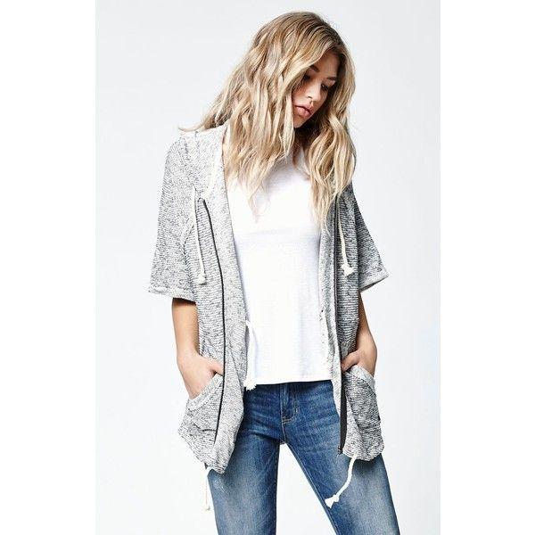 Billabong Love Me Zip Up Hoodie ($65) ❤ liked on Polyvore featuring tops, hoodies, elbow sleeve tops, billabong hoodie, white zip up hoodie, zip up hoodies and zip up hooded sweatshirt