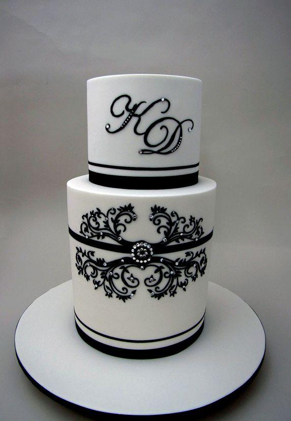 Pretty Stenciled Bling Black & White Cake Picture