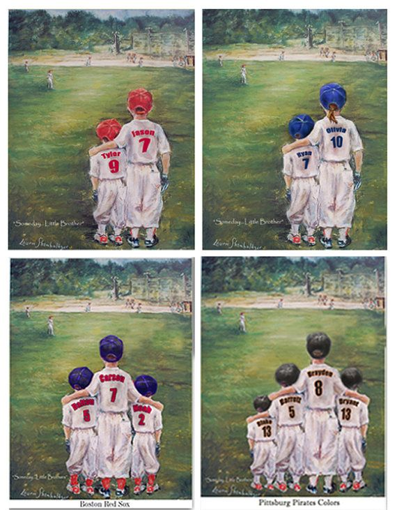 "Personalized baseball print, add Names, Numbers,Team Colors, 2-4 boys & girls,""Someday...Little Brother"" Laurie Shanholtzer- Information VIDEO - http://youtu.be/yicfvAmBQQ8"