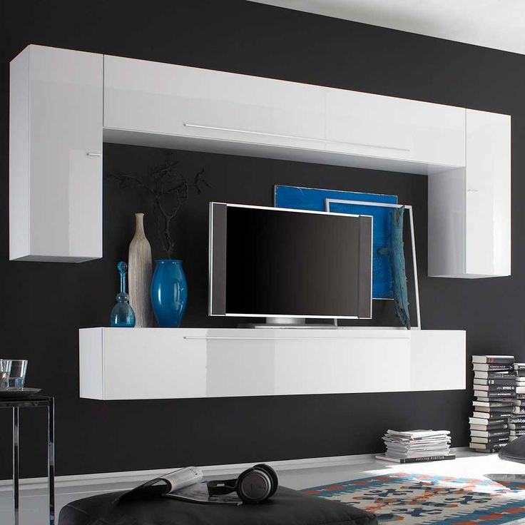 Více než 10 nejlepších nápadů na téma Schrank weiß hochglanz na - moderner wohnzimmerschrank mit glastüren und led beleuchtung
