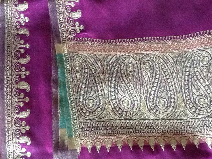 Kashmiri Pashmina shawl with rich marodi work ( couching )