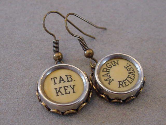 Bronze Typewriter Key Earrings TAB KEY MARGIN Release Butter Cream typewriter key  Jewelry Brass earrings Steampunk by magiccloset on Etsy