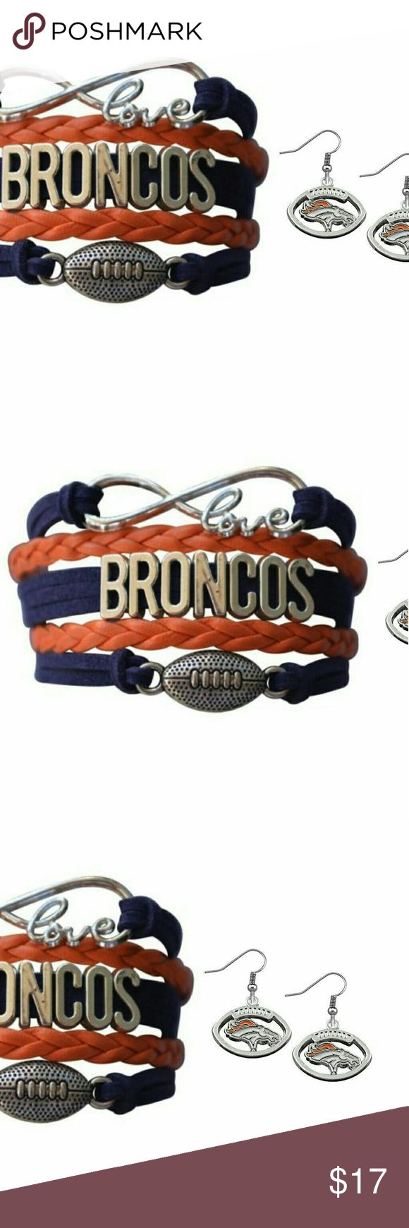 Denver Broncos Jewelry Set Denver Broncos Jewelry Set - New Denver Broncos Bracelet & Earring - NFL Jewelry  WHO LOVES FOOTBALL?! Show your Pride for the Denver Broncos with this antique silver charm bracelet and earrings set. Absolutely adorable, you'll be in a hurry to show it off to your friends and family!  Perfect Gift for Broncos Football Fans!! Jewelry